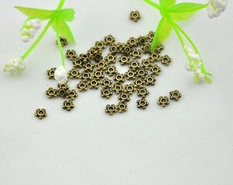 Spacer Charms -7g (about 100pcs)  Antique Bronze Mini  Flower Spacer Bead Charm Pendants---- 4mm ----G264