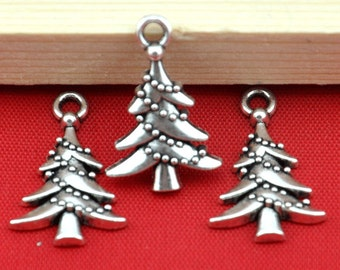 Christmas tree charm -25pcs Antique Silver Christmas tree Charm Pendants --13*21mm--G533