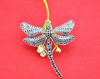 Dragonfly Charms -6pcs Antique Silver Dragonfly Charm Pendants----50X55mm-----G1559