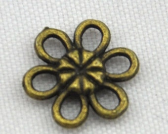 Wholesale 60pcs Antique Bronze Mini Flower Connector Charms 12mm ,DIY Accessory Jewelry Making------G1356