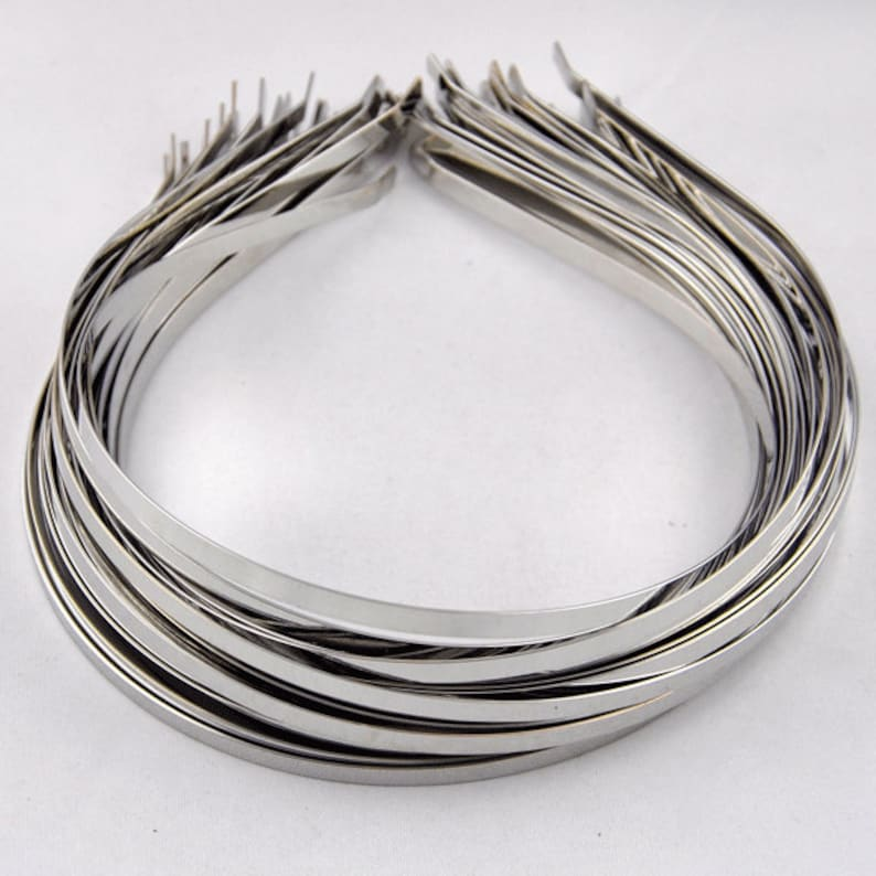 Wholesale --5mm--G1225 -50 Metal Headbands silver color with bent end,DIY Accessory