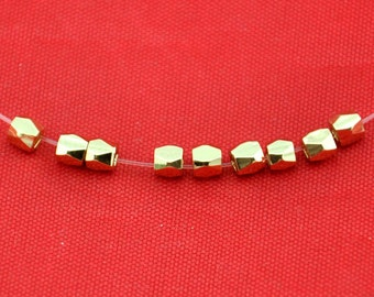 3mm ---25 pcs--24k Gold Vermeil Beads Spacers, Cube Faceted Square, wholesale beads----G1506