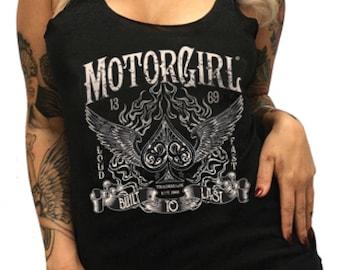 MOTORGIRL racer back tank top, Aces High, rock 'n' roll, tattoo style, motorgirl brand