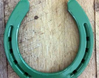 Lucky horseshoe, green horseshoe, christmas decoration, christmas gift, wall decor, painted horseshoe, good luck, lucky gift, home decor