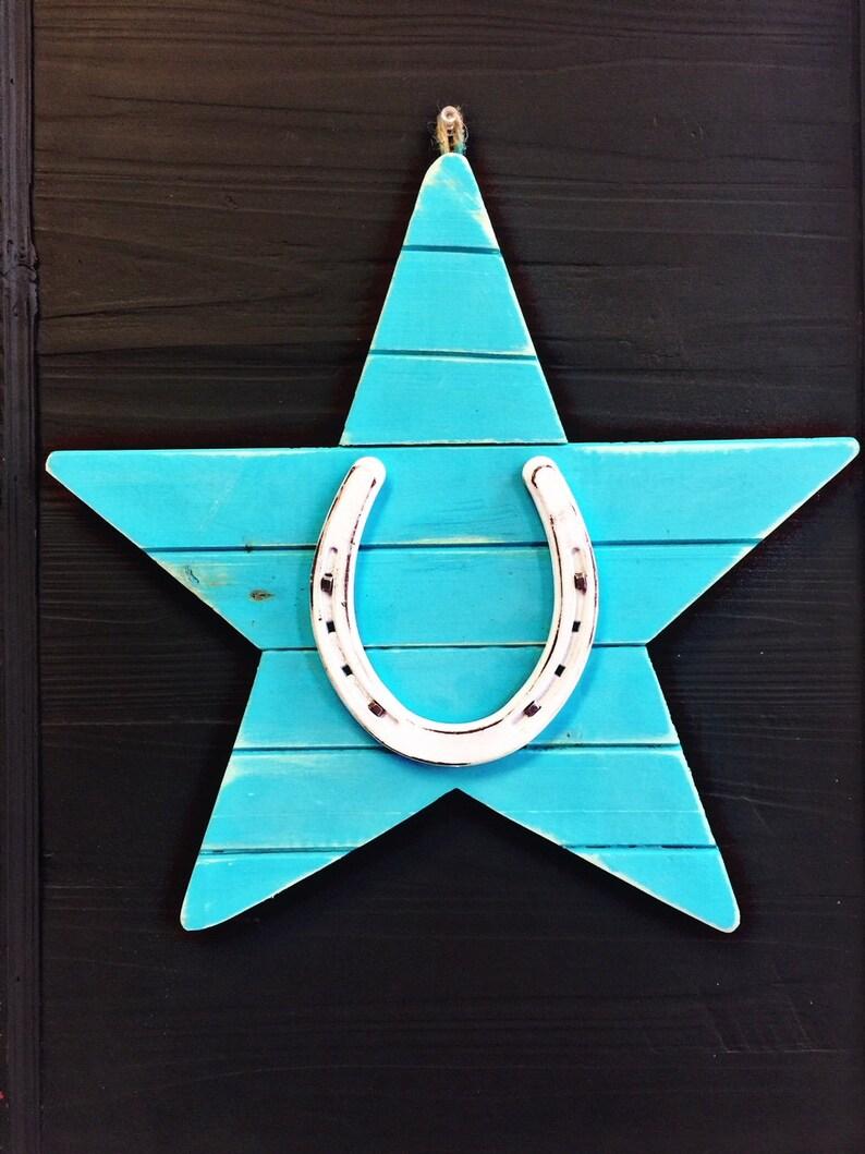 White Rustic Horseshoe on Blue Wood Star  Wall Deco  image 0