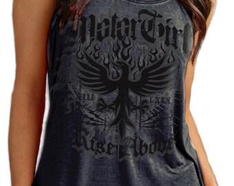 MOTORGIRL acid treated, tank top, Rise Above, Biker,, Motorcycle, rock 'n' roll, tattoo style, motorgirl brand