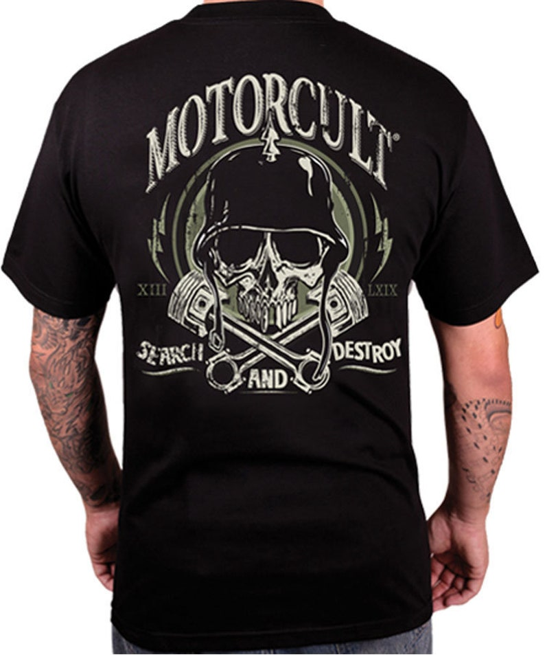 MotorCult  Destroy  Mens Black T-Shirt Search And Destroy image 0