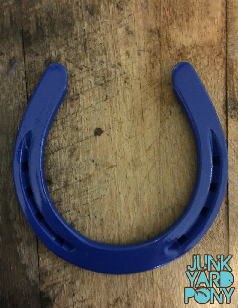 Lucky horseshoe blue wall decor painted horseshoe good image 0