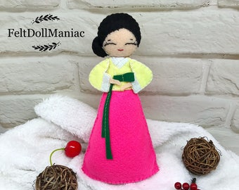 Korean Hanbok Doll. Felt Doll. PDF Pattern. PDF Tutorial.
