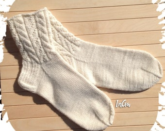 Merino wool socks. Hand knit wool socks. Lace socks. Soft socks yarn.