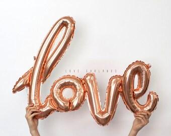 Rose d'or Script amour, amour Cursive ballon, Or Rose amour ballon bannière, ballon de fiançailles, mariage ballon, mariage amour signe