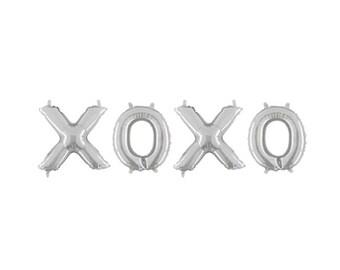 XOXO Silver Letter Balloons, XOXO Balloon Banner, Hugs & Kisses Letter Balloons, Silver Letter Balloons, Love Balloons, Wedding Balloons