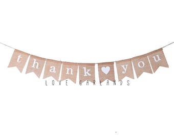 Thank You Burlap Banner Wedding Sign Rustic Bunting