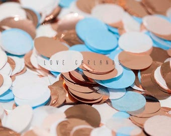 Light Blue White Rose Gold Round Confetti, Light Blue Rose Gold Circle Confetti, Baby Shower Confetti, Rose Gold Confetti, Balloon Confetti