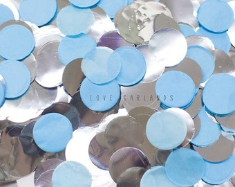 "Blue Tissue Paper Confetti, Light Blue Tissue Paper Confetti, Baby Blue Confetti, Blue and Silver Confetti, 1"" Round Circle Confetti"