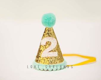 Second Birthday Glitter Felt Hat 2 Year Old Mint Gold