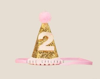 Second Birthday Glitter Felt Hat 2 Year Old Gold