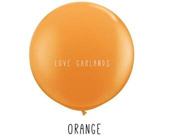 """Orange 36"""" Balloon, Orange 3' Balloon, Round Orange Balloon, Orange Wedding Balloon, Orange Wedding Decor, Orange Baby Shower, Orange Party"""