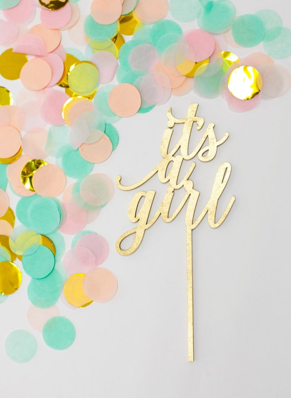 It's a Girl Cake Topper, It's a Girl Gold Cake Topper, Baby Girl Cake Topper, Gender Reveal Cake Topper, Baby Announcement Cake Topper