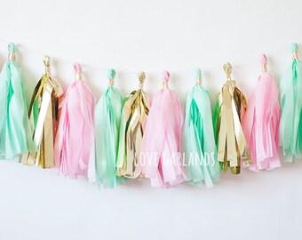 Pink Mint Gold Tassel Garland, Mint Pink Gold Garland, Mint Pink Birthday Party Decor, Mint Pink Baby Shower, Mint Pink Cake Smash, Bridal