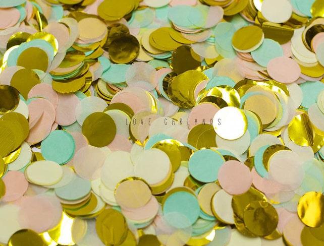 Peach Mint Ivory Gold Round Confetti, Peach Mint Ivory Gold Confetti, Wedding Confetti, Bridal Shower Confetti, Balloon Confetti
