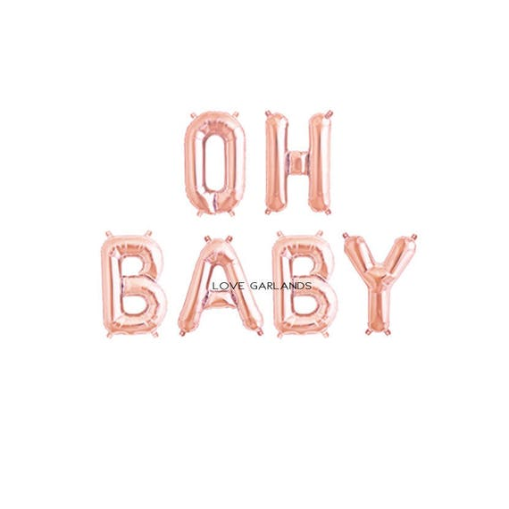 Baby Shower Letter Balloons.Oh Baby Letter Balloons Oh Baby Rose Gold Banner Rose Gold