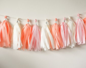 Light Pink, Peach, Ivory Tassel Garland (15)