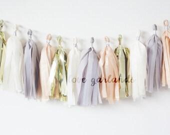 Taupe Tassel Garland, Neutral Garland, Gender Neutral Decor, Gender Neutral Baby Shower, Gender Reveal Decor, Nursery Garland, Kraft Garland
