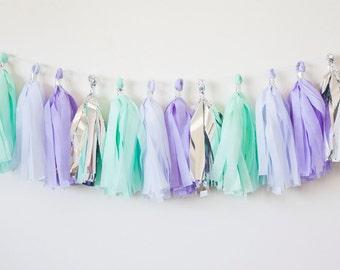 Mermaid Tassel Garland, Mermaid Party Garland, Mermaid Decorations, Mermaid Party, Mermaid Party Decor, Mint Lavender Garland, Mint Purple