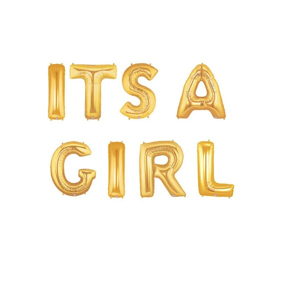 its a girl gold letter balloons its a girl balloon banner etsy