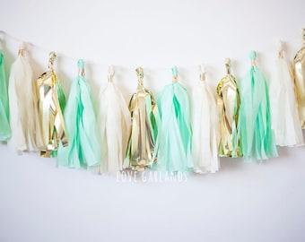 Ivory Gold Mint Tassel Garland, Mint Tassel Garland, Mint Gold Tassel Garland, Mint Garland, Mint Baby Shower, Mint Bridal Shower