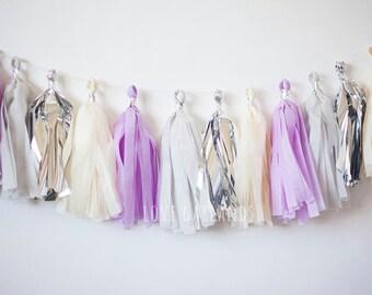 Grey, Silver, Ivory, Lilac Tassel Garland (15)