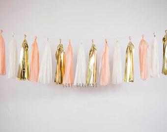 Ivory Gold Peach Tassel Garland, Peach Tassel Garland, Peach Garland, Cake Smash, Birthday Banner, Peach Baby Shower, Peach Bridal Shower