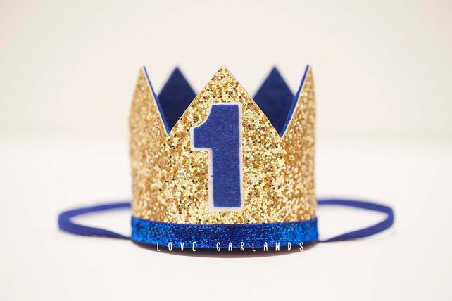 UNO Crown Birthday Party Hat Cake Smash Headband Glitter Boy Custom ... 6c4cbb87f29b