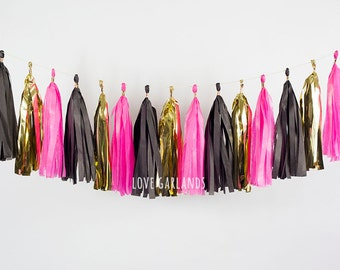 Black Hot Pink Gold Tassel Garland, Flamingo Party Garland, Black Hot Pink Tissue Garland, New Years Party Decor, New Years Tassel Garland