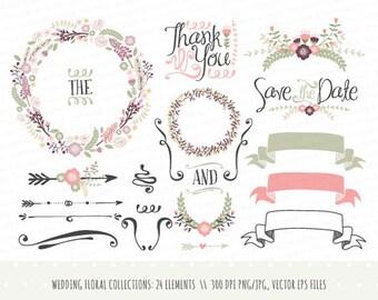 Vintage wedding invitation floral wreath clipart collection etsy wedding invitation clipart collection hand drawn wreaths flowers decorative elements banners vector png jpg laurels cp0031 stopboris Gallery