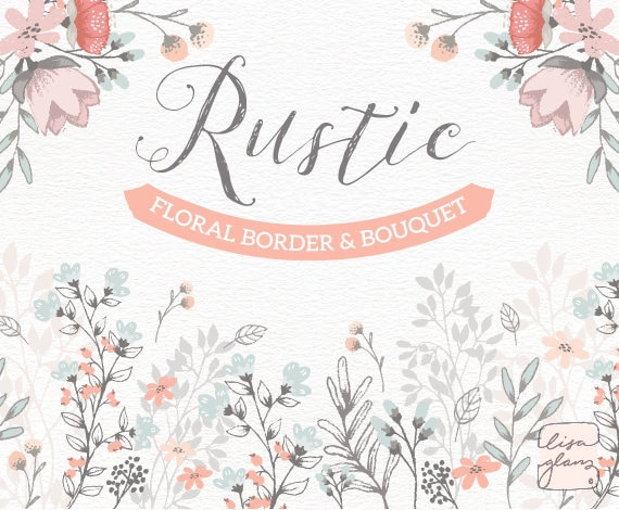 Floral Border Bouquet Rustic Hand Drawn Floral Clipart Etsy
