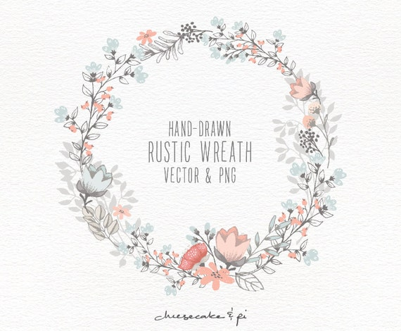 Floral Wreath Hand Drawn Clipart Wedding