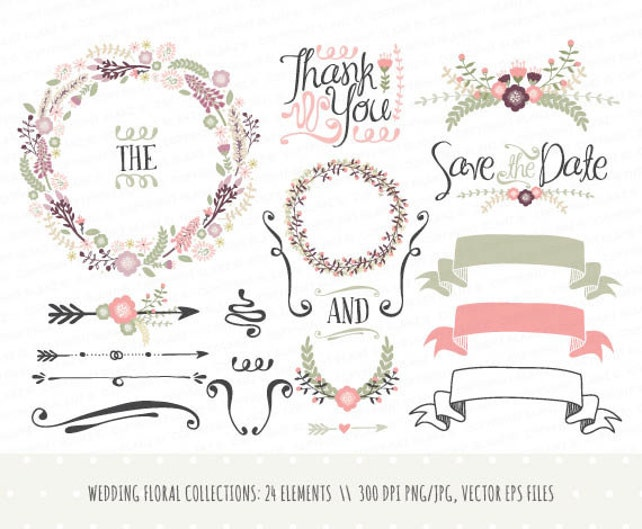wedding invitation clipart collection hand drawn wreaths etsy rh etsy com wedding invitations clipart borders free wedding invitations clipart borders free