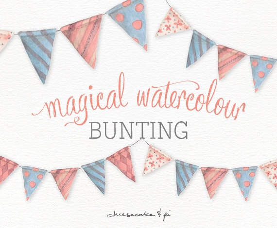 Watercolor bunting clipart: painted whimsical bunting ...