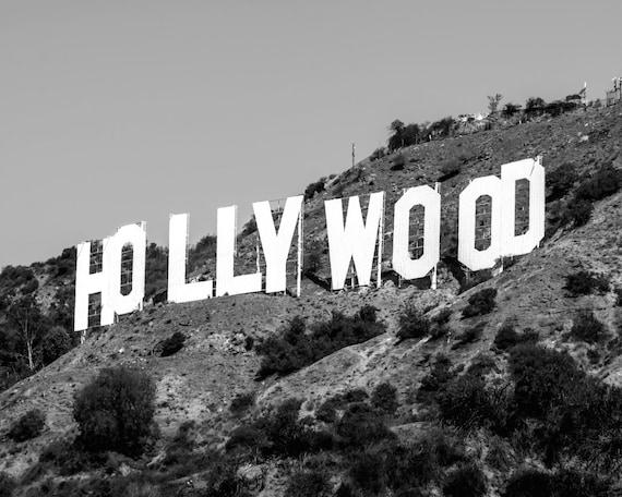 Hollywood Wall Art Black Wall Art Hollywood Print Hollywood Etsy