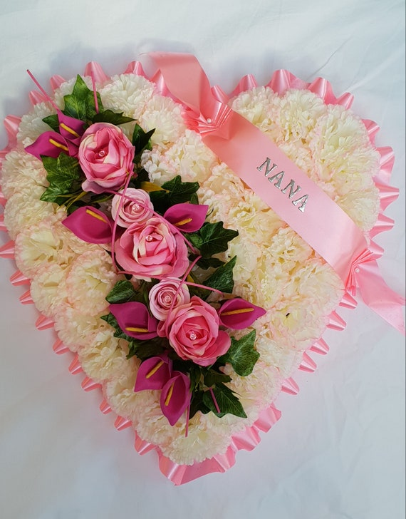 """Large 18/"""" Heart Shaped Silk Artificial Funeral Flowers Wreath//Memorial//Tribute"""