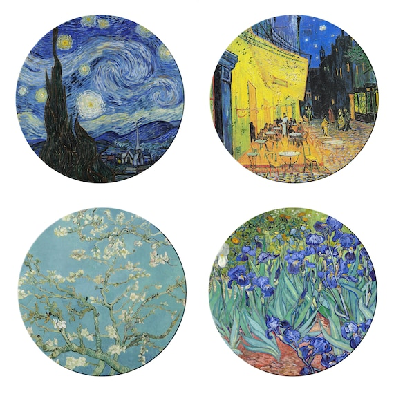 Van Gogh Cafe Terrace Round Placemats For Round Tables Burlap Textured Hemmed Edge Waterproof Sturdy Flexible