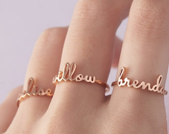 566954ec24 Stackable Name Ring • Personalized Name Rings • Child Name Ring For Mom •  Custom Name Jewelry • Sterling Silver Stacking Name Ring For Women