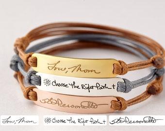 Handwriting Bracelet Leather, Signature Bracelet, Handwritten Gift, Memorial Gift For Daughter, Handwritten Bracelet, Remembrance