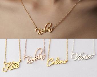Nameplate Necklace, Tween Girl Gifts, Cursive Name Necklace, Teenage Girl Birthday Gift, Personalized Teenager Gift, High School Girl Gift