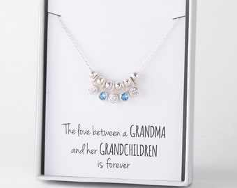 Grandma birthstone jewelry • Children birthstone necklace for grandma • Grandmother necklace with grandkids birthstones • Grandma xmas gift