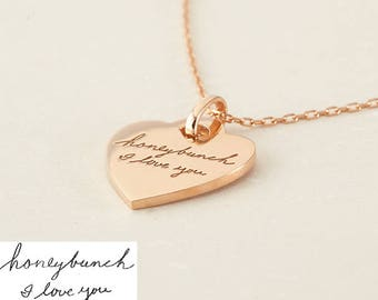 Handwritten Jewelry • Memorial Handwriting Jewelry • Handwritten Necklace • Engraved Handwriting Necklace - CHN16