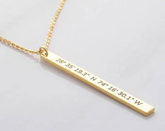 Latitude longitude necklace • Silver coordinates jewelry • Sister necklace • Sister jewelry • Sister gifts CCN06