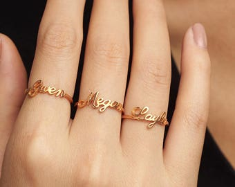 Stackable Mother's Rings • Stacking Name Ring • Silver Name Ring • Personalized Name Jewelry • Gift for Mom Kid Name • Gold Name Ring CNR